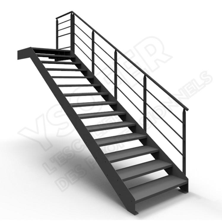 Ysoplan escalier droit m tal et bois ysofer for Dimension escalier bois